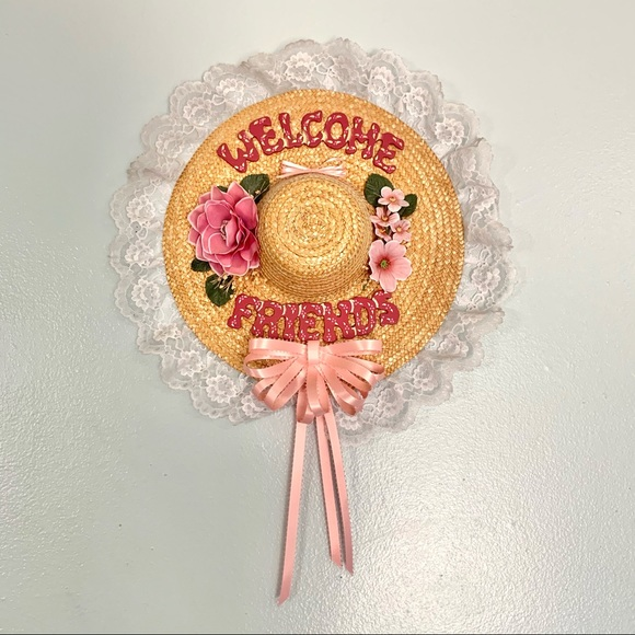 Vintage Straw Hat Welcome Friends Sign Lace Floral